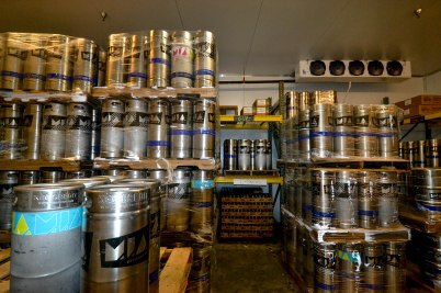 Kegs waiting to be shipped off